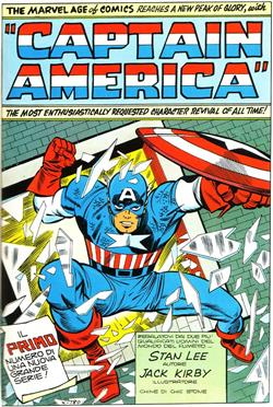 Splash Page del primo episodio di Captain America versione Marvel<br>da Tales of Suspense #59 Tavola 1<br><i>(c) 1964 Marvel Comics</i>